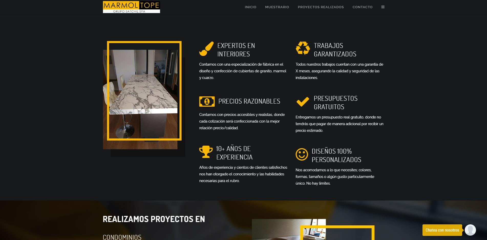 Marmoltope.cl - Tiweb - Pagina Web Autoadministrable - Posicionamiento Web
